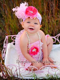 Light Pink Lace Romper with Raspberry Peony