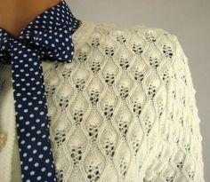 White Cream Sweater Popcorn Scalloped Pointelle Knit Pearl Buttons Vtg 60s S M #ebay