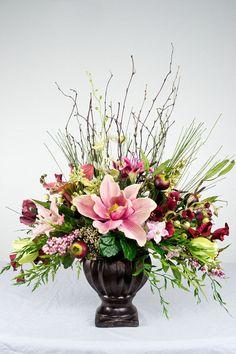 Pink Traditional Silk Floral Arrangement by EssentialSilkDecor, $93.99 #silkarrangements #pinkflower #essentialsilkdecor