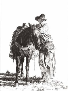 Bill Owen ~ The Cowboy Artist Bill Owen ~ L& cow-boy Outline Drawings, Pencil Art Drawings, Cowboy Horse, Western Cowboy, Bill Owen, Real Cowboys, True Art, Horse Pictures, Old West