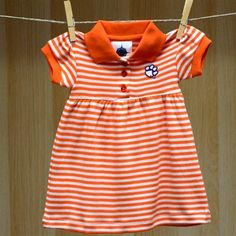 Clemson Baby Striped Game Day Dress Bloomer
