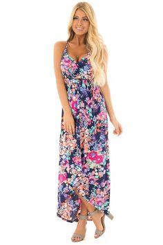 Lime Lush Boutique - Navy Floral Print Wrap Style Hi Low Dress, $48.99 (https://www.limelush.com/navy-floral-print-wrap-style-hi-low-dress/)