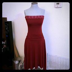 Papaya strapless red dress Great dress, very flowy, great cut No stains Papaya Dresses Strapless
