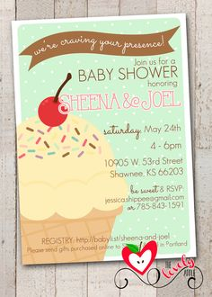 Ice Cream Baby Shower Invitation Printable Ice by thelovelyapple, $15.00