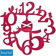 Koziol Pi:p Red Wall Clock - woodland themed cute red clock Red Wall Clock, Wall Clock Gift, Design3000, London Clock, Tabletop Clocks, Cool Clocks, Modern Clock, Red Candy, Large Clock