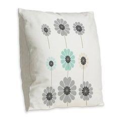Modern Digital Floral Flower Party Burlap Throw Pillow on CafePress.com