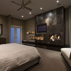 Contemporary Home asymmetrical shelves next to fireplace Design Ideas, Pictures, Remodel and Decor