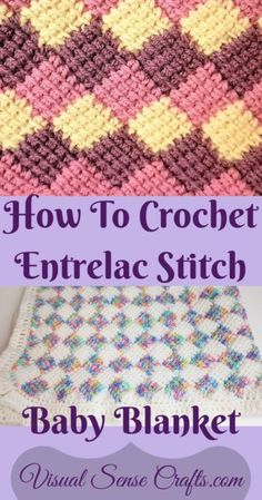 How To Crochet Entrelac Stitch With Video Tutorial - Visual Sense Crafts - - This is a video and photo tutorial of how to do Tunisian Entrelac stitch and make a baby blanket. This is a very relaxing stitch to do once you learn it. Crochet Afghans, Tunisian Crochet Blanket, Crochet Stitches For Blankets, Tunisian Crochet Patterns, Crochet Quilt, Baby Blanket Crochet, Crochet Yarn, Knit Stitches, Crochet Granny