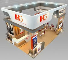 IHG Hotel Booth Design architectural booth design exhibit, formats MAX, ready for animation and other projects Exhibition Models, Exhibition Stall Design, Exhibit Design, Stand Feria, Container Architecture, 3d Models, Stand Design, Shop Interiors, Cool Designs