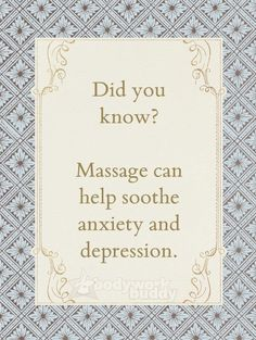 Did you know that massage helps anxiety and depression :). Come visit us for…