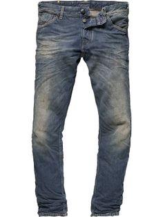 Gitane - 5 Pocket Slim Fit - Red Cast Denim - denim blue - 38/34 $216