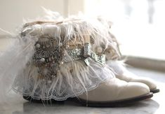 Upcycled REWORKED WHITE winter vintage boho by TheLookFactory