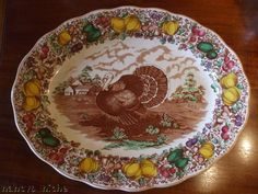 Barker Brothers 20 Inch Turkey Platter Brown Transferware Thanksgiving