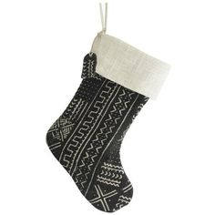 Black & White Mud Cloth Christmas Stocking (450 SAR) ❤ liked on Polyvore featuring home, home decor, holiday decorations, black and white home decor, black and white christmas stockings, black white home decor and black and white home accessories