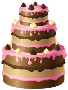 Large Chocolate Cake with Pink Cream PNG Clipart