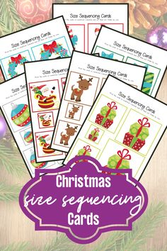 This mini pack of Christmas size sequencing cards for preschool is perfect for your math centers throughout the holiday season. This pack includes 10 sets of sequencing cards! #christmassequencing #christmassizesequencing #sequencingcards #homeschoolprek