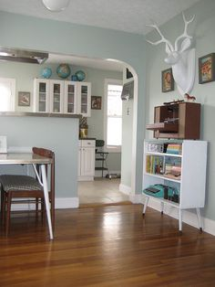 this wall color, white trim, same floors.  silver sage paint color | silver sage color matched by home depot in behr paint kitchen paint ...