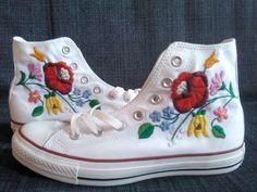 Fun sneakers with Hungarian Folk art design.