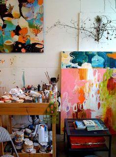 art studio-looks like Flora Bowley artwork Collage Kunst, Flora Bowley, Tableaux Vivants, What's My Favorite Color, Art Studios, Artist At Work, Oeuvre D'art, Painting Inspiration, Room Inspiration