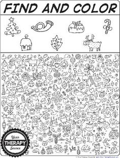 VIsual Perceptual Activities for Christmas - Find and Color