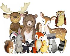 **SIMPLY SELECT HOW MANY ANIMALS YOU WOULD LIKE, AND THEN SPECIFY IN NOTES TO SELLER WHICH ANIMALS YOU WANT***! 11 sweet and tender woodland animal waiting to come to your home! | FOX | DEER | RACOON | OWL | BEAR | BUNNY | HEDGEHOG | DUCK | MOOSE | SQUIRREL | SKUNK Be Clever ❧ Be Kind