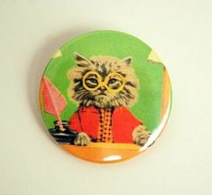Mr lawyer cat button badge or magnet 1.5 Inch by PKPaperKitty, $1.50