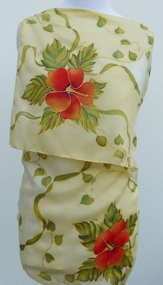 Red hibiscus flowers silk scarf HAND PAINTED Chartreuse almond