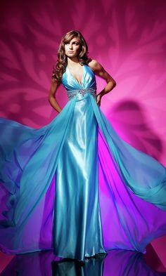 Lange blauwe jurk van le gala