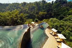 The name of this hotel is apt: it sits on a 45-degree slope overlooking Ubud's dense jungle. The infinity pool is possibly the most famous aspect of the entire place, and rightly so. It's a duplex with a waterfall between the two levels, and has a flowing free-form shape that echoes the area's rice paddies, as it juts into the surrounding greenery. Not special enough? Book the Romance Under the Stars dinner experience and dine on a floating antique wooden deck on the lower pool.