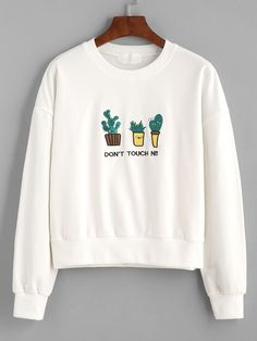White letter and cactus embroidered sweatshirt mobile site blusa moleton, jaqueta, roupas fofas, Cute Sweatshirts, Cute Shirts, Teen Fashion, Fashion Outfits, Womens Fashion, Hipster Fashion, Hipster Girl Outfits, Fashion Wear, Fasion