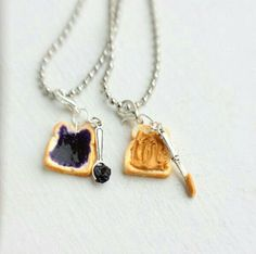 Peanut Butter Grape Jelly Best Friends Necklace - Miniature Food Jewelry - Food Jewelry from bookmarksnrings on Etsy. Saved to Things I want as gifts. Bff Necklaces, Best Friend Necklaces, Best Friend Jewelry, Friendship Necklaces, Cute Jewelry, Unique Jewelry, Etsy Jewelry, Best Stocking Stuffers, Grape Jelly