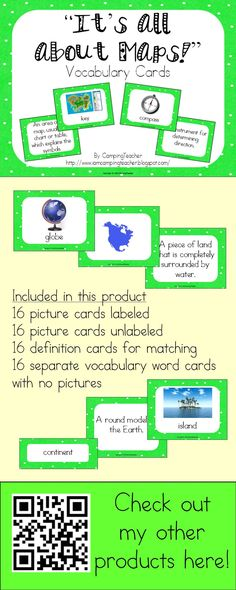 """""""It's all about Maps!"""" Vocabulary Cards.  A set of 16 vocabulary cards to help your students learn all about maps."""