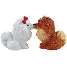 Pomeranian Puppies Magnetic Ceramic Salt and Pepper Set, 2.75-Inch