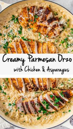 >> Creamy Parmesan Orzo with Chicken and Asparagus - - abendessen Orzo Recipes, Chicken Recipes, Dinner Recipes, Recipe Chicken, Parmesan Recipes, Noodle Recipes, Parmesan Orzo, Real Food Recipes, Cooking Recipes
