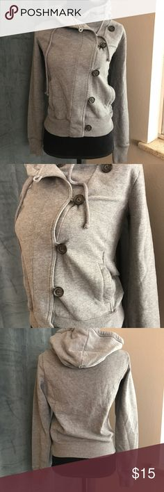 Hollister Heather Grey Asymmetric Hoodie M Worn once. No holes, stains or signs of wear. Lightweight Hollister Tops Sweatshirts & Hoodies