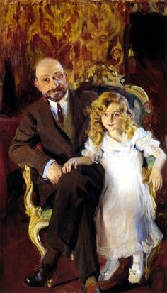 Portrait of Carlos Urcola Ibarra with his Daughter, Eulalia ~ Joaquin Sorolla y Bastida Spanish Painters, Spanish Artists, Claude Monet, Valencia, Digital Museum, Beautiful Paintings, Les Oeuvres, Painting & Drawing, Art Gallery