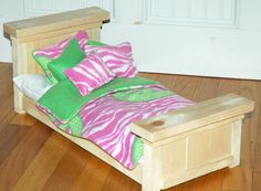 Shabby Chic Farmhouse Doll Bed - Pink Peace Zebra -Fits American Girl Dolls and 18 Inch Dolls