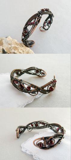Copper wire bracelet with garnet by Ursula Jewelry.