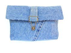 Denim clutch purse recycled blue jeans by NancyEllenStudios