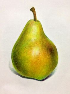 pencil art Ideas For Fruit Drawing Pencil Color Color Pencil Sketch, Pencil Shading, Fruits Drawing, Food Drawing, Drawing Ideas, Colored Pencil Artwork, Coloured Pencils, Pear Drawing, Illustration Au Crayon