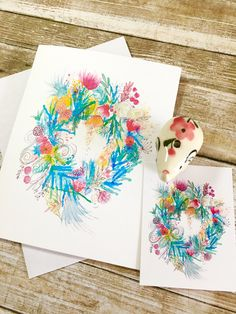 Greeting card watercolour  + matching gift tag. Spring blooms wreath Watercolor Cards, Watercolor Print, Watercolor Illustration, Matching Gifts, Spring Blooms, Sell On Etsy, Note Cards, I Card, Gift Tags