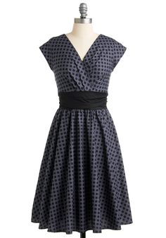 Pretty on the Park Bench Dress in Dots. While you find it unfortunate that every season can't be summer, it's easy to remain upbeat with the flare of both the sun and this dress gracing your gait through the park! #grey #modcloth