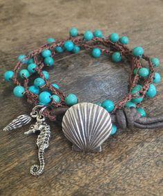 "Turquoise Sea life Multi Wrap Crochet, Leather Bracelet, Anklet, Necklace ""Beach Chic"" $40.00"