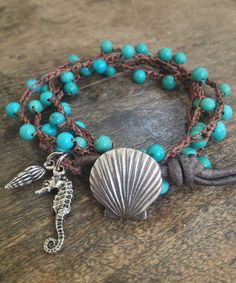 "Turquoise Sea life Multi Wrap Crochet, Leather Bracelet, Anklet, Necklace ""Beach Chic"" Ocean Blue"