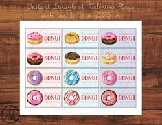 Printable Donut Valentine, You had me at donut, Valentine's Day tags, Instant download