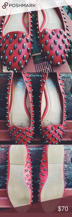 Jeffrey Campbell red skull loafers Excellent condition Jeffrey Campbell skull red loafers Jeffrey Campbell Shoes Flats & Loafers