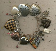 BIG LOVE a charm bracelet with large hearts by ElenaMary on Etsy, $50.00