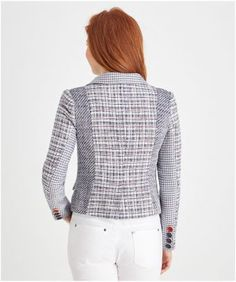 """A creative mix of prints and texture take this tweedy jacket to a new level. Beautiful button details and a gorgeous shaped hem make it laid-back and lovely with just a touch of elegance. Detachable corsage included. Approx Length: 62cm Our model is: 5'8"""""""