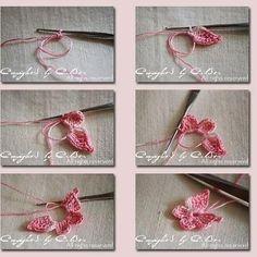 Crochet Butterfly - Tutorial for Crochet, Knitting. Crochet Diy, Love Crochet, Irish Crochet, Crochet Crafts, Yarn Crafts, Crochet Projects, Diy Crafts, Appliques Au Crochet, Crochet Motifs