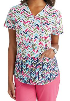 NrG by Barco Bow and Arrow v-neck print scrub top. Main Image
